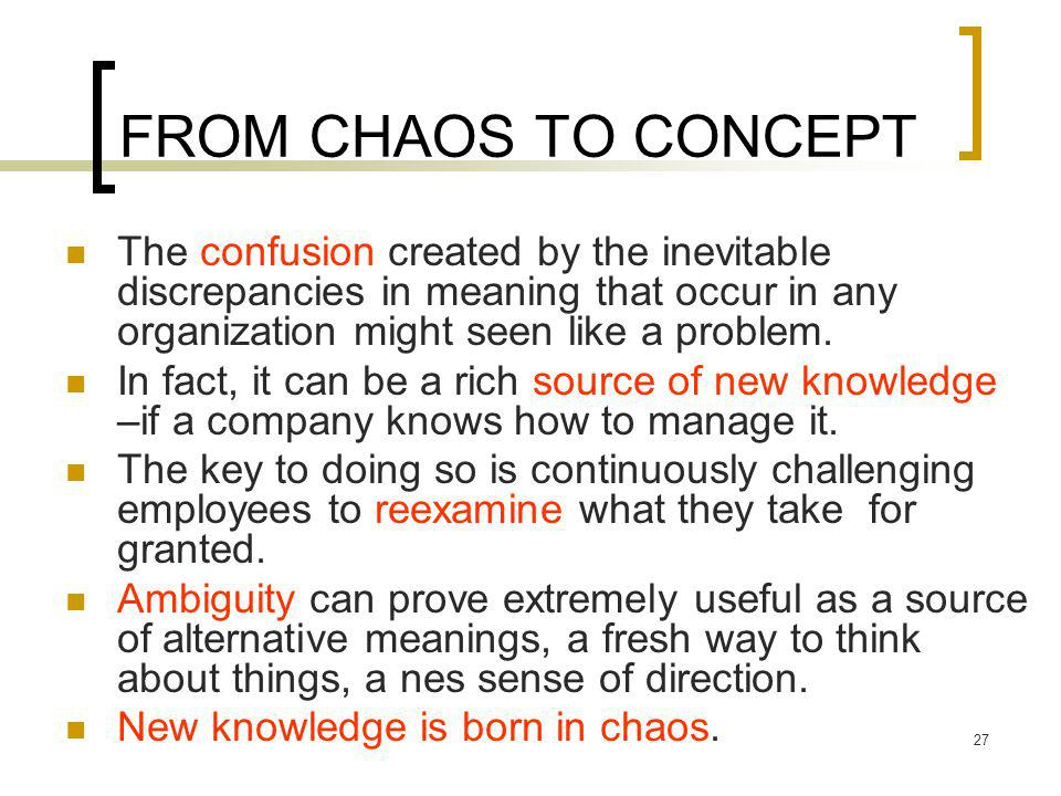 FROM CHAOS TO CONCEPT The confusion created by the inevitable discrepancies in meaning that occur in any organization might seen like a problem.