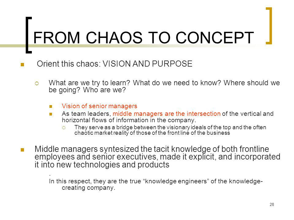 FROM CHAOS TO CONCEPT Orient this chaos: VISION AND PURPOSE