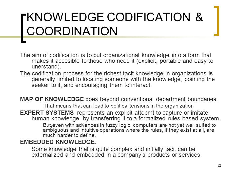 KNOWLEDGE CODIFICATION & COORDINATION