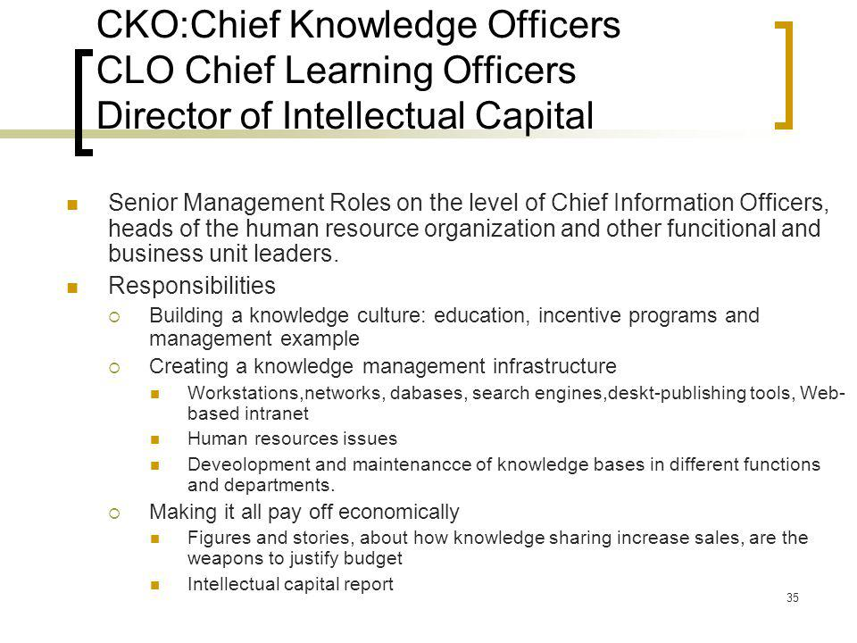 CKO:Chief Knowledge Officers CLO Chief Learning Officers Director of Intellectual Capital