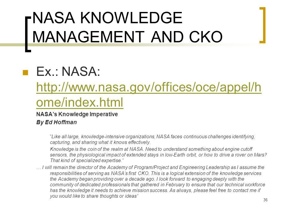 NASA KNOWLEDGE MANAGEMENT AND CKO