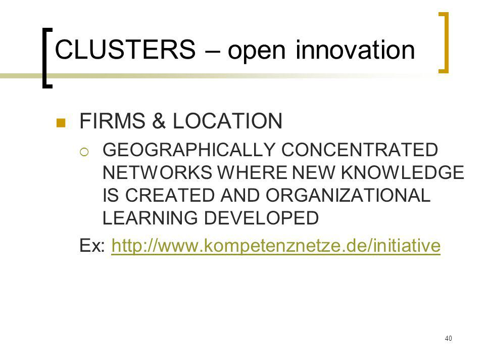 CLUSTERS – open innovation