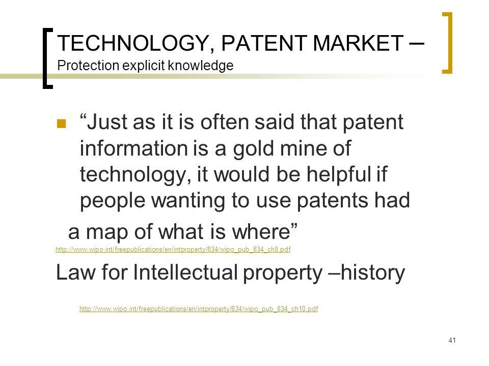 TECHNOLOGY, PATENT MARKET – Protection explicit knowledge