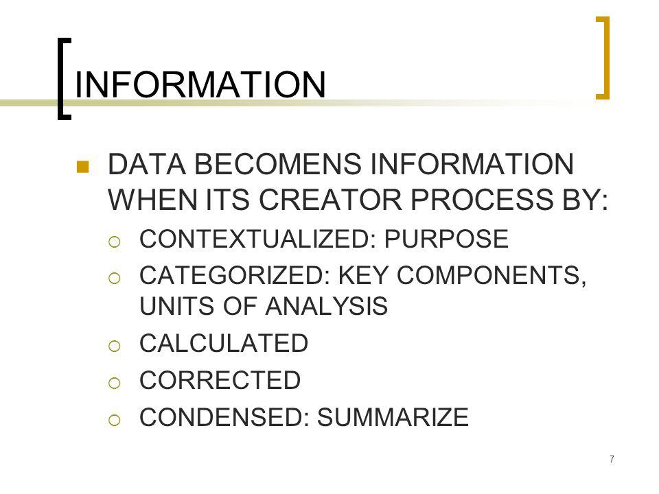 INFORMATION DATA BECOMENS INFORMATION WHEN ITS CREATOR PROCESS BY:
