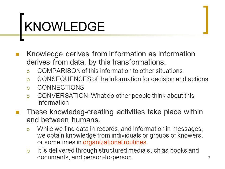 KNOWLEDGE Knowledge derives from information as information derives from data, by this transformations.