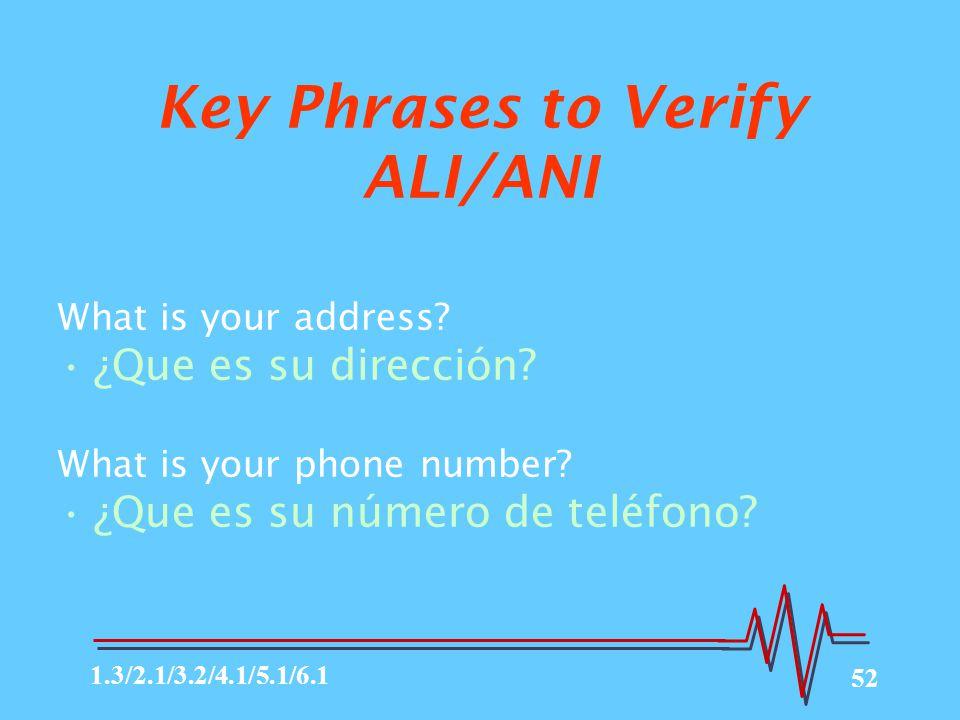 Key Phrases to Verify ALI/ANI