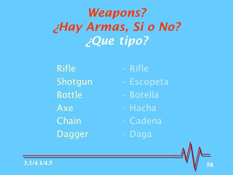 Weapons ¿Hay Armas, Si o No ¿Que tipo