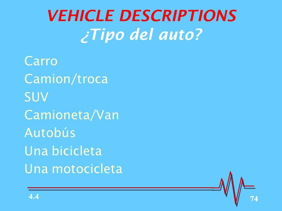 VEHICLE DESCRIPTIONS ¿Tipo del auto