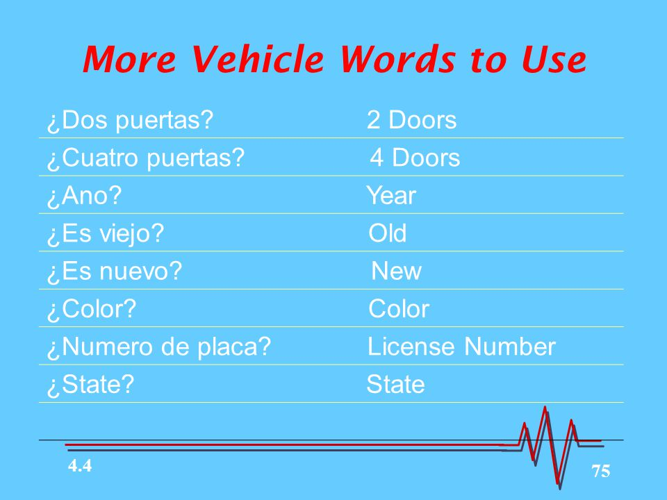 More Vehicle Words to Use