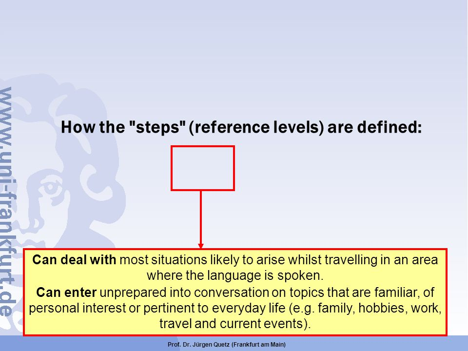 How the steps (reference levels) are defined: