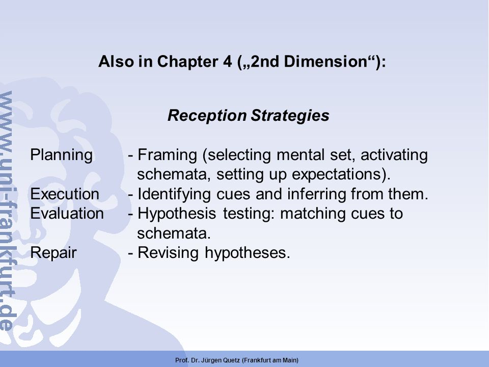 """Also in Chapter 4 (""""2nd Dimension ): Reception Strategies"""