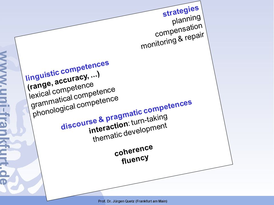 discourse & pragmatic competences coherence fluency