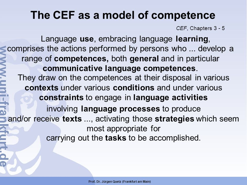 The CEF as a model of competence