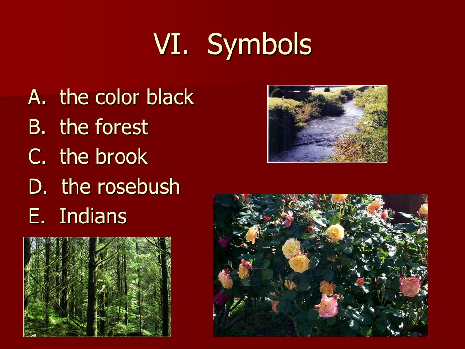 VI. Symbols A. the color black B. the forest C. the brook