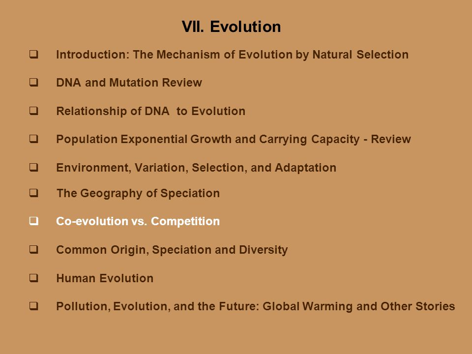 VII. Evolution Introduction: The Mechanism of Evolution by Natural Selection. DNA and Mutation Review.