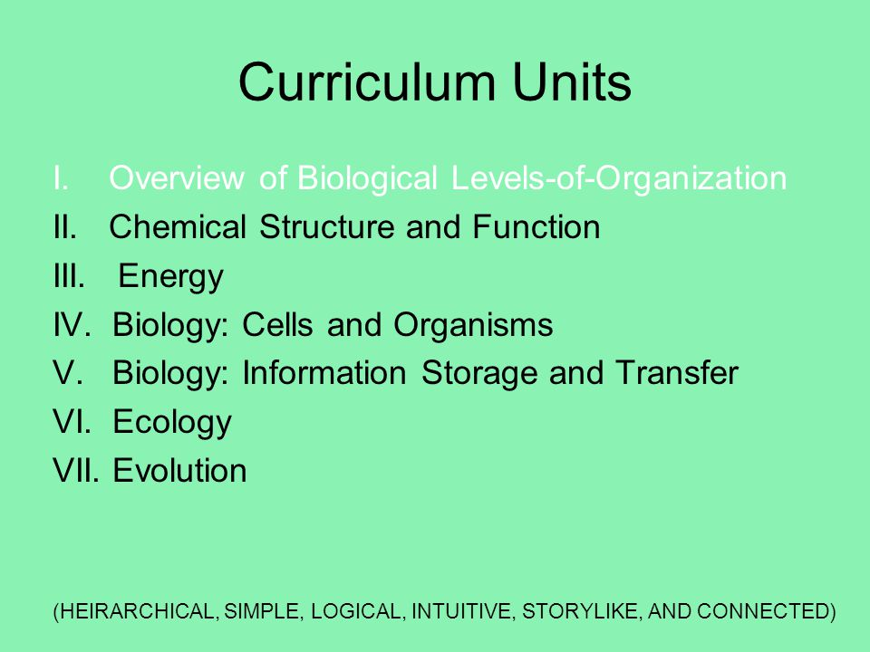 Curriculum Units I. Overview of Biological Levels-of-Organization
