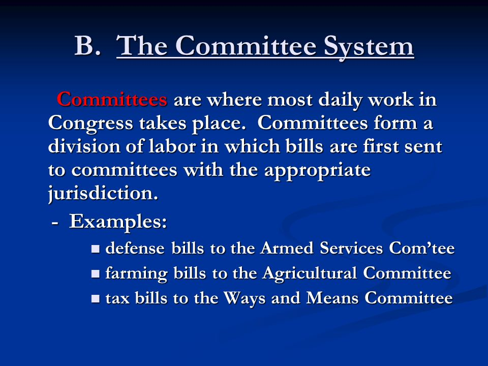 B. The Committee System