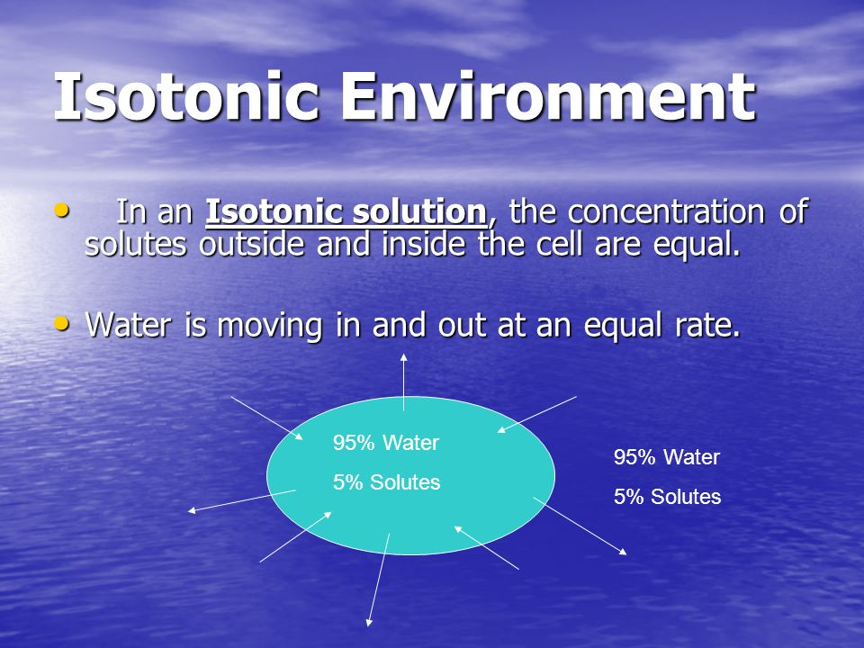 Isotonic EnvironmentIn an Isotonic solution, the concentration of solutes outside and inside the cell are equal.