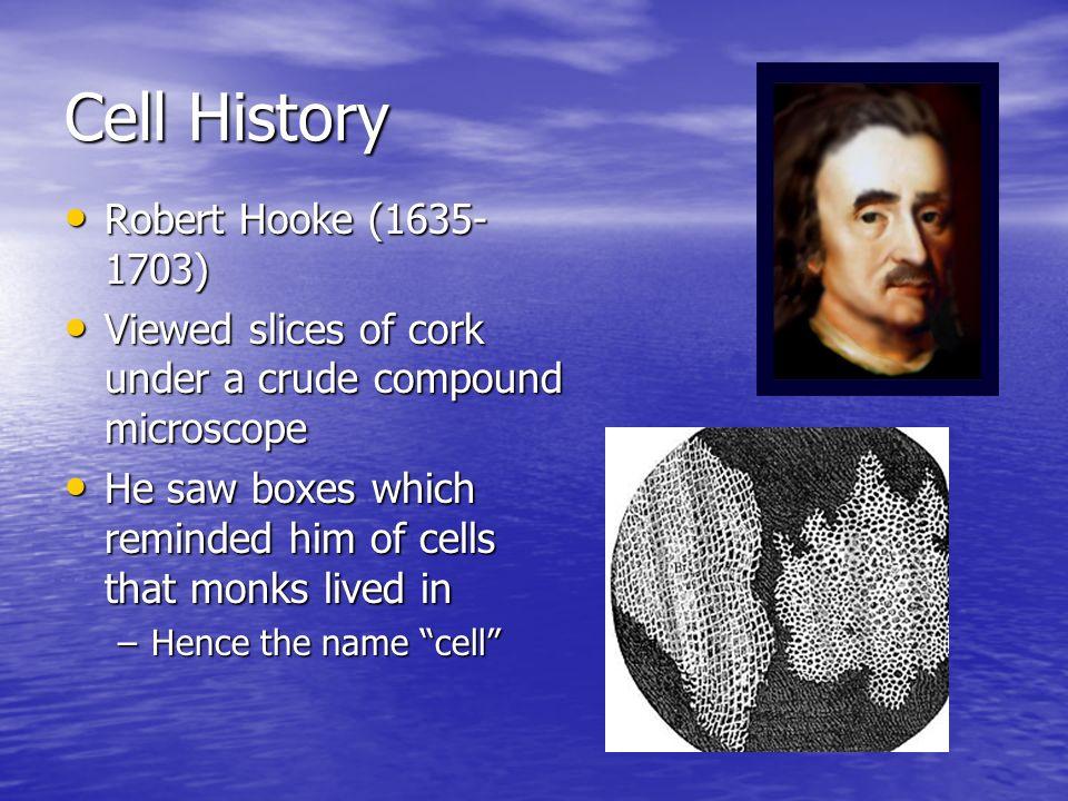 Cell History Robert Hooke (1635-1703)