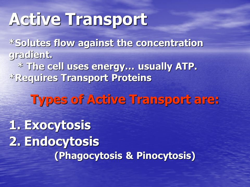 Types of Active Transport are: (Phagocytosis & Pinocytosis)