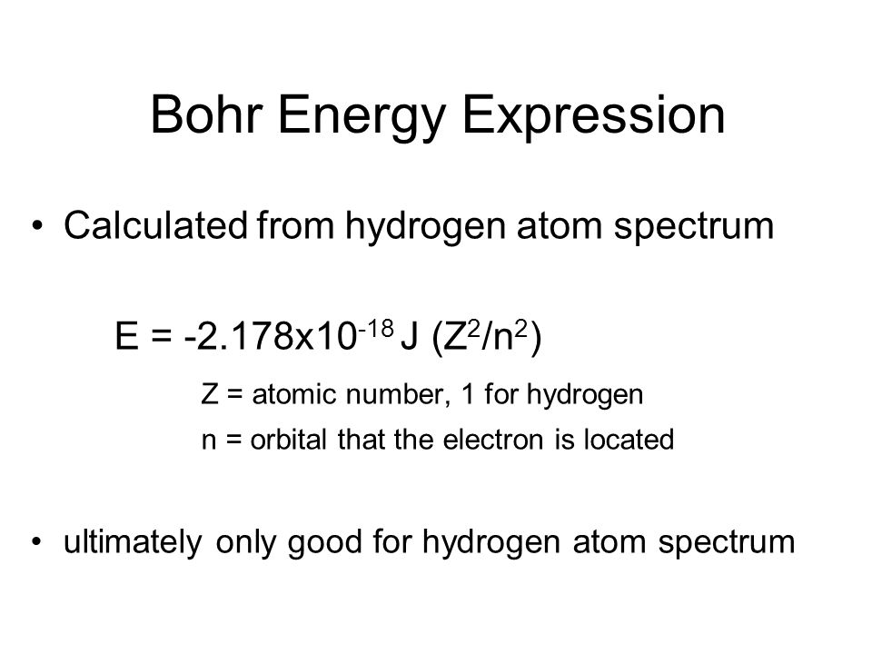 Bohr Energy Expression