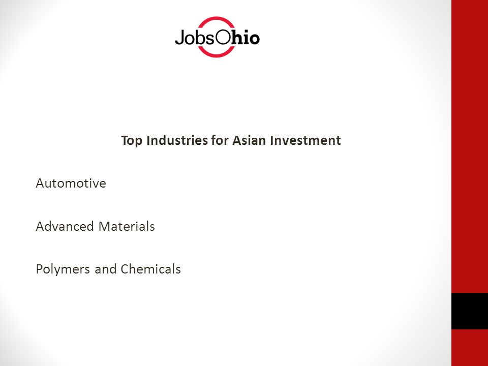 Top Industries for Asian Investment Automotive Advanced Materials Polymers and Chemicals