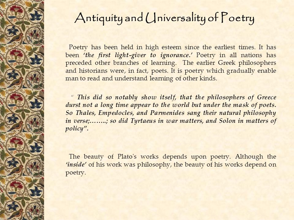 Antiquity and Universality of Poetry