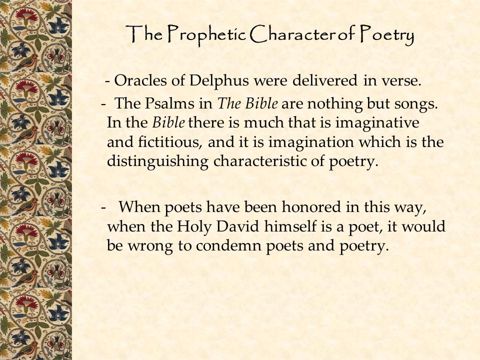 The Prophetic Character of Poetry