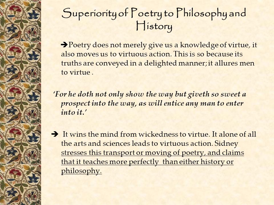 Superiority of Poetry to Philosophy and History