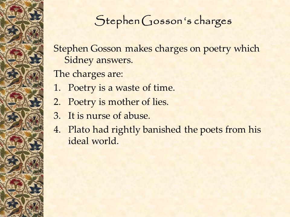 Stephen Gosson 's charges