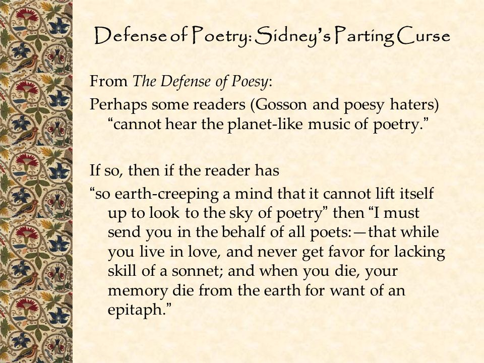 Defense of Poetry: Sidney's Parting Curse