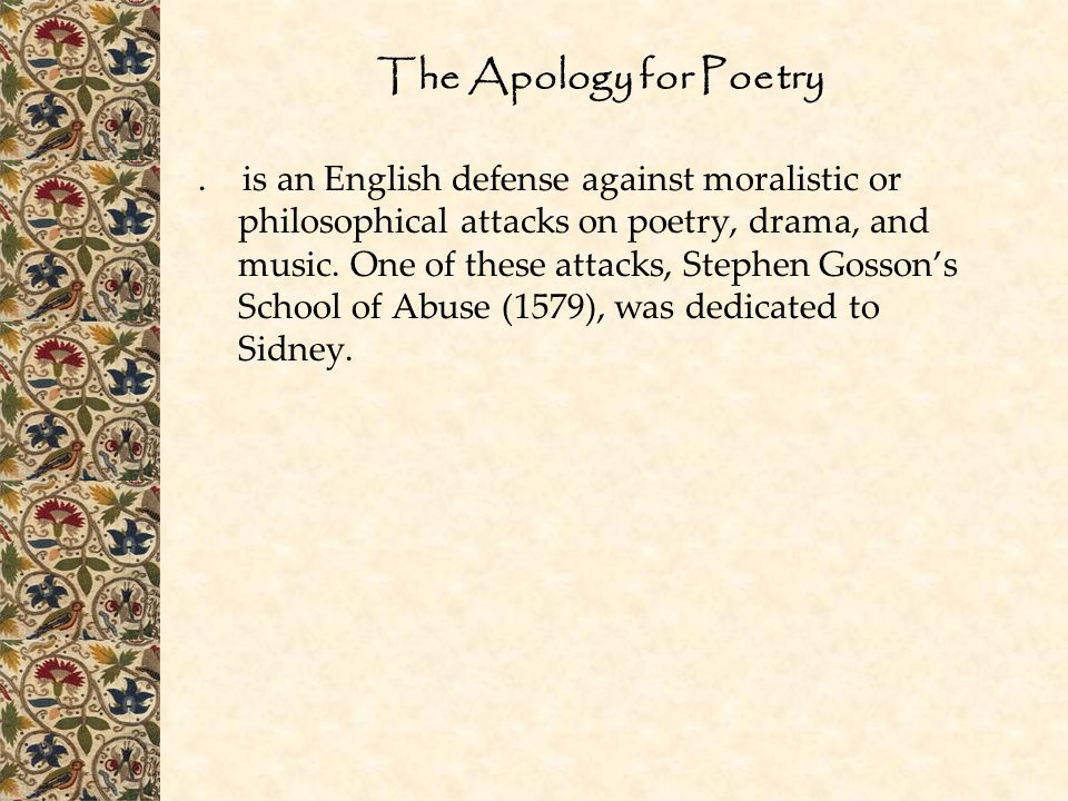 The Apology for Poetry