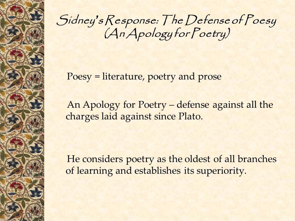 Sidney's Response: The Defense of Poesy (An Apology for Poetry)