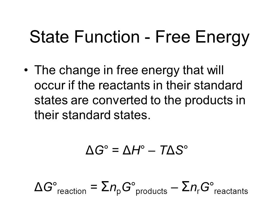 State Function - Free Energy