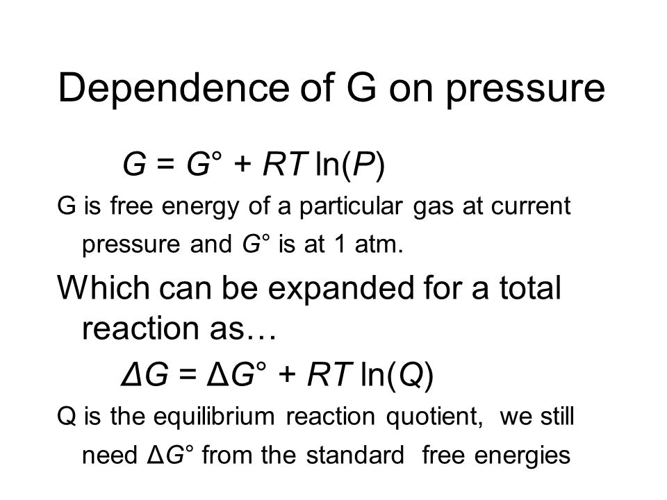 Dependence of G on pressure