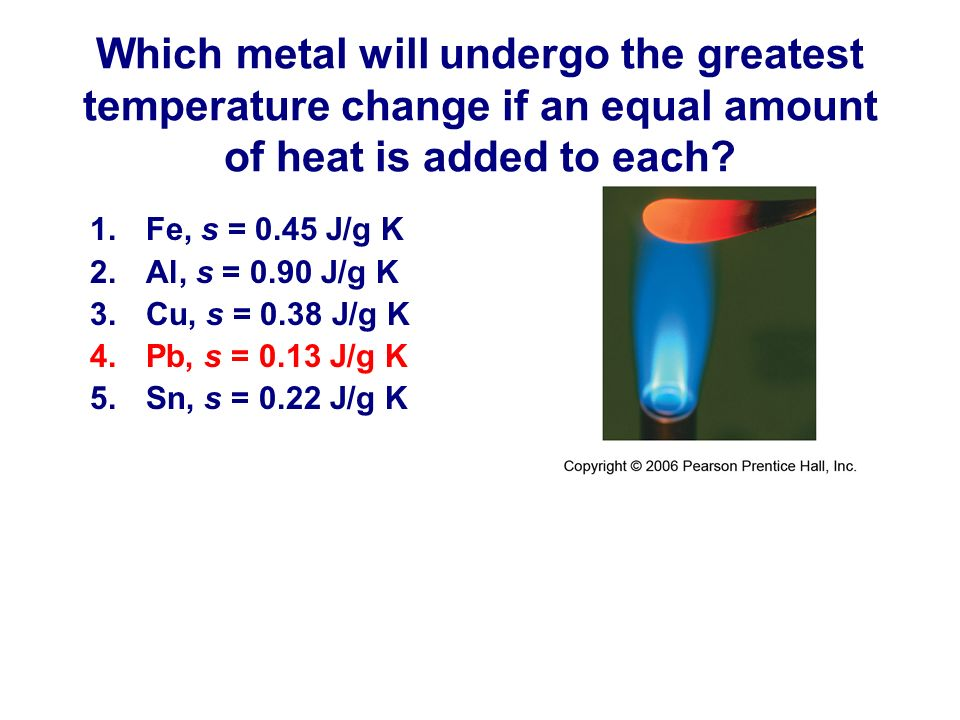Which metal will undergo the greatest temperature change if an equal amount of heat is added to each