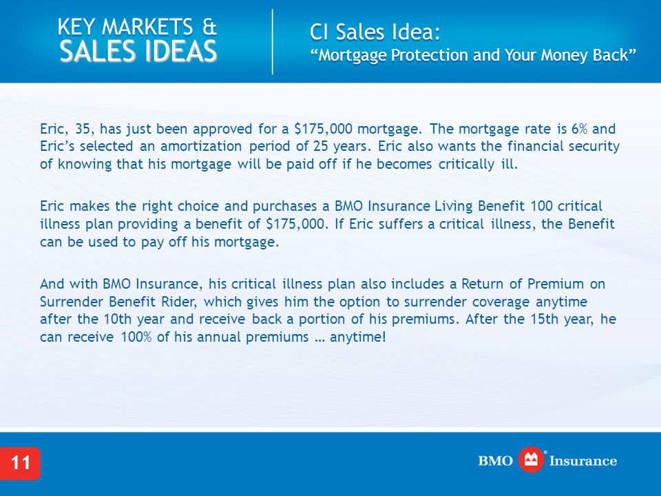 CI Sales Idea: Mortgage Protection and Your Money Back