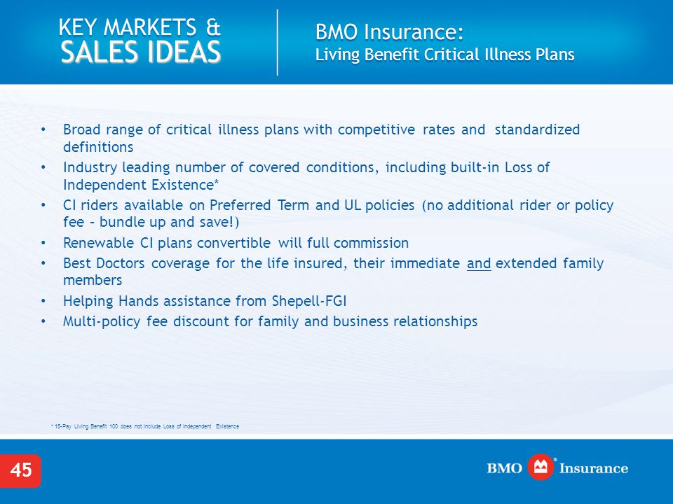 Bmo Term Life Insurance Quote Enchanting Critical Illness Insurance Key Markets And Sales Ideas  Ppt Download