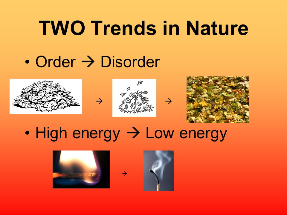 TWO Trends in Nature Order  Disorder   High energy  Low energy 