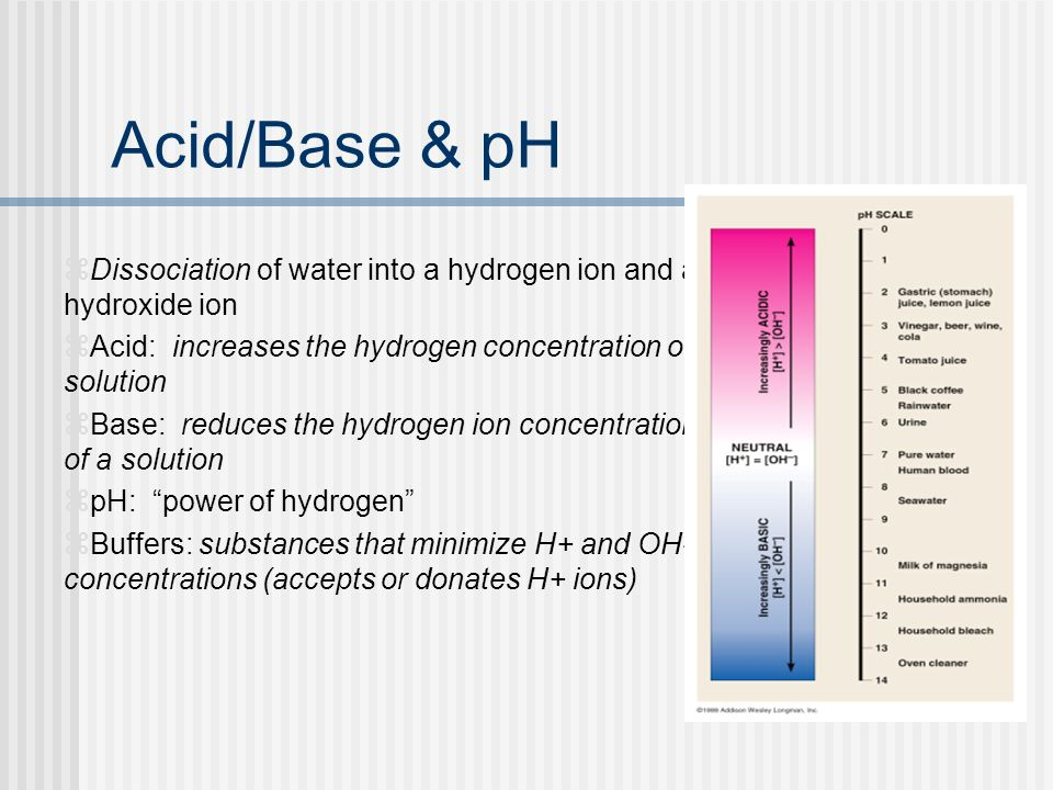 Acid/Base & pH Dissociation of water into a hydrogen ion and a hydroxide ion. Acid: increases the hydrogen concentration of a solution.