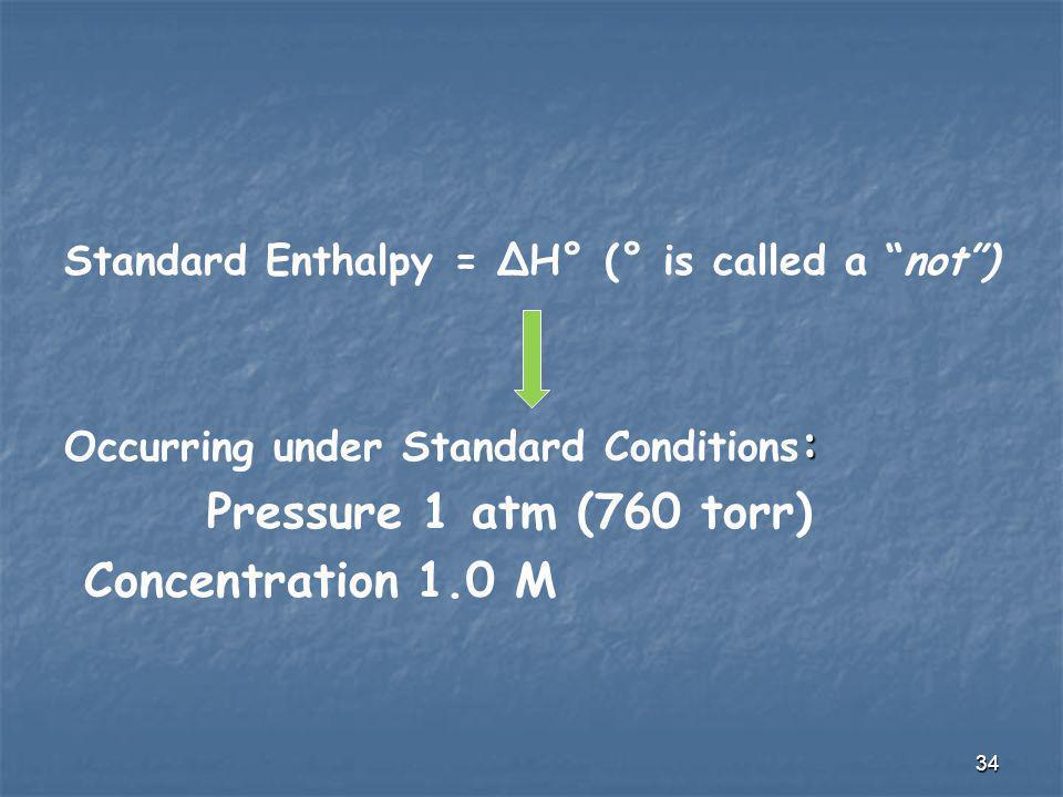 Pressure 1 atm (760 torr) Concentration 1.0 M