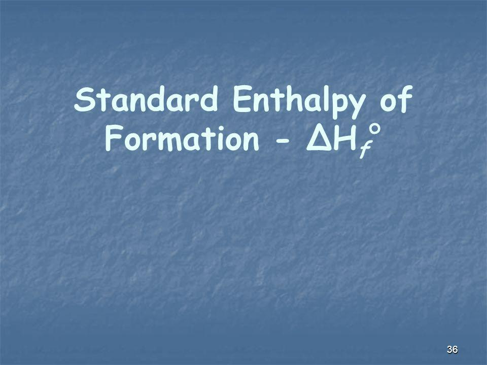Standard Enthalpy of Formation - ΔHf°