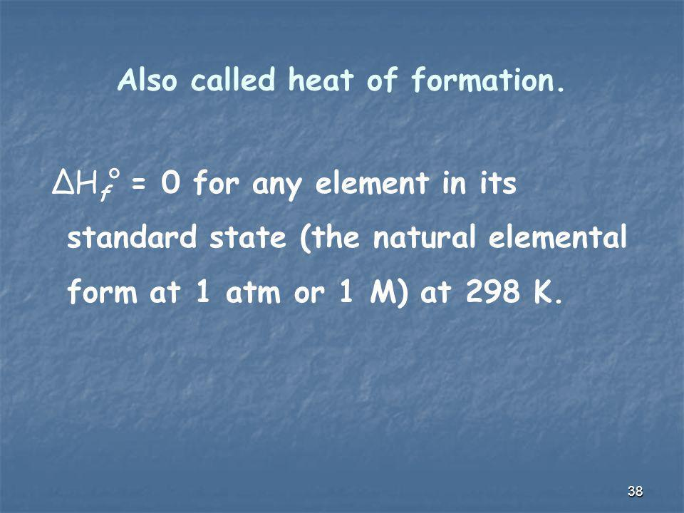 Also called heat of formation.