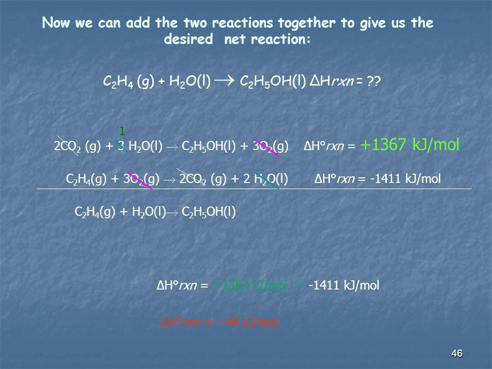 C2H4 (g) + H2O(l)  C2H5OH(l) ΔHrxn =