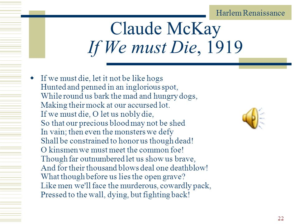 Claude McKay If We must Die, 1919