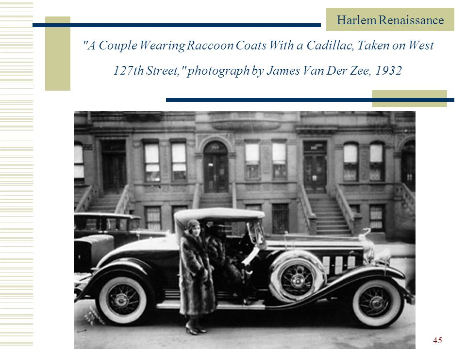 A Couple Wearing Raccoon Coats With a Cadillac, Taken on West 127th Street, photograph by James Van Der Zee, 1932