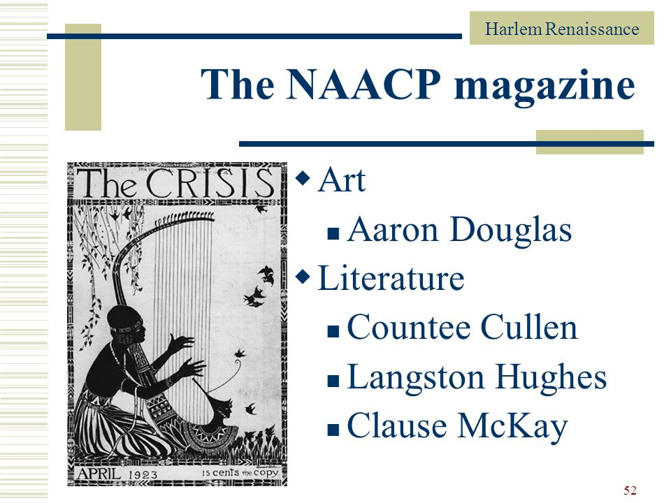The NAACP magazine Art Aaron Douglas Literature Countee Cullen