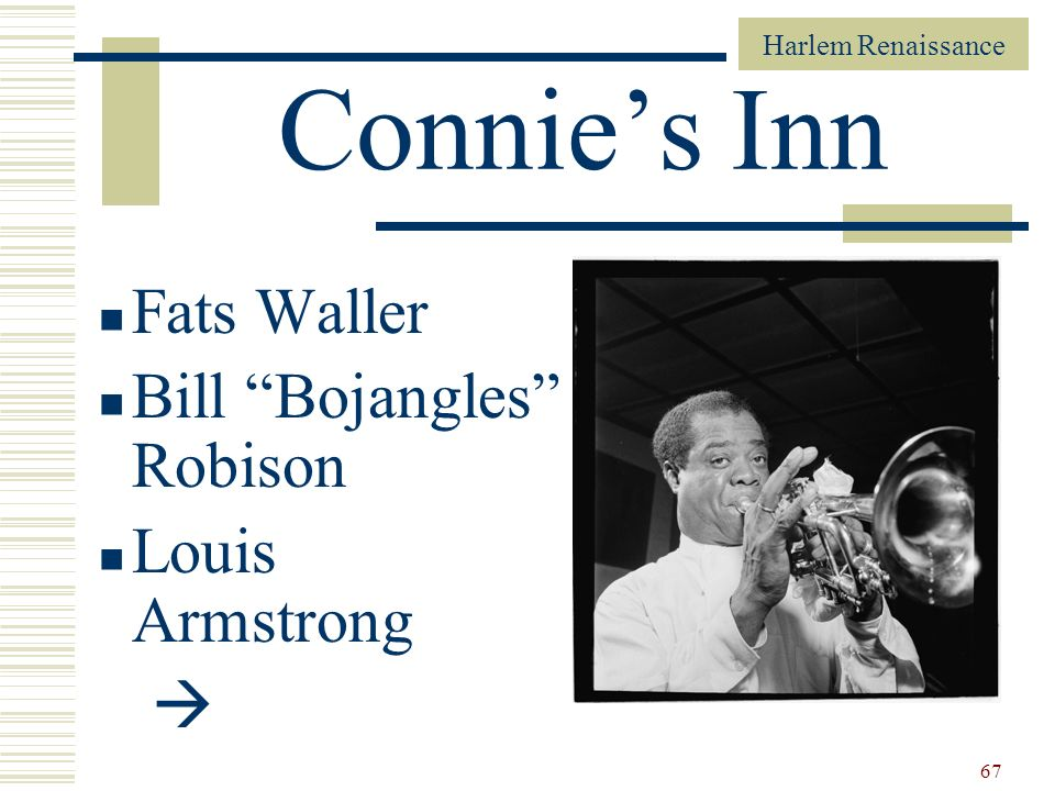 Connie's Inn Fats Waller Bill Bojangles Robison Louis Armstrong 