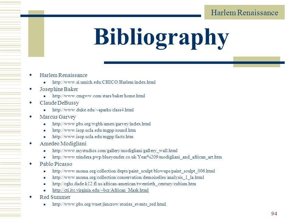 Bibliography Harlem Renaissance Josephine Baker Claude DeBussy
