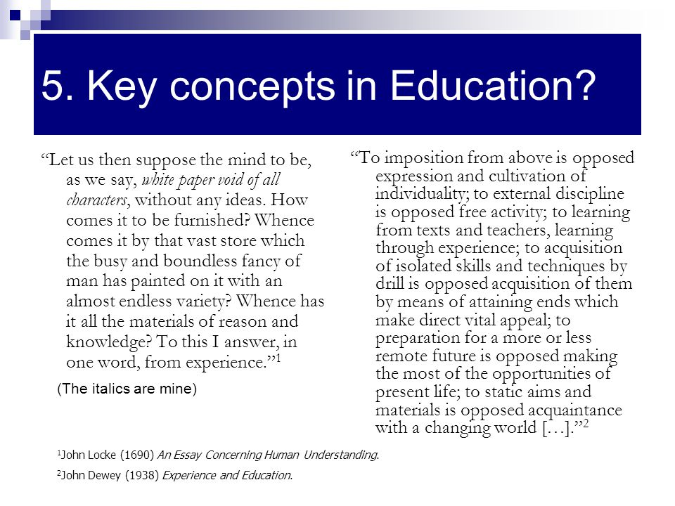 5. Key concepts in Education